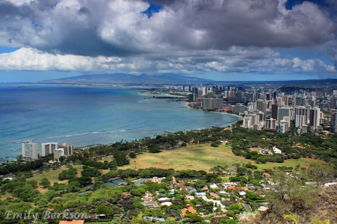 Overlooking Waikiki and Honolulu from atop Diamond Head.
