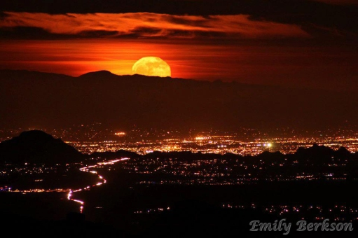 Moonrise over Tucson, AZ.