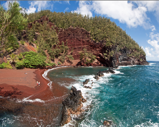 If you carefully make your way along the path to this red sand beach, the view and seclusion are worth it!