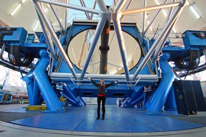 Standing in front of the 8.1-meter mirror