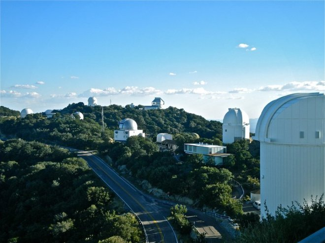 Overlooking Kitt Peak National Observatory from the Mayall 4-meter observation deck.
