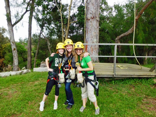 The girls at the start of the ziplining course