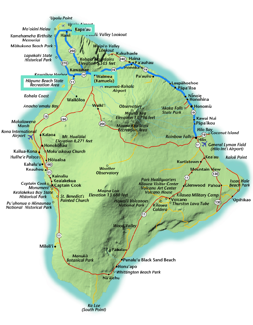The Big Island Hawaii Itinerary Map