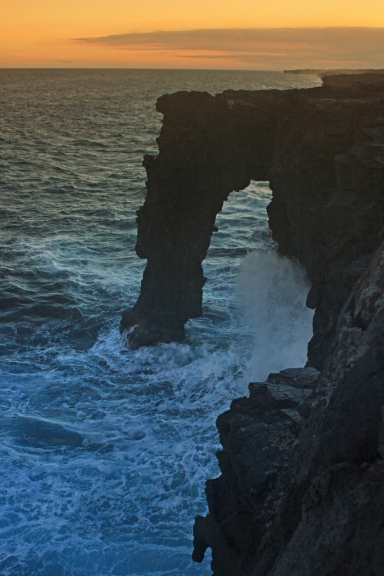 Sunset viewing of Holei Sea Arch at the end of Chain of Craters road.