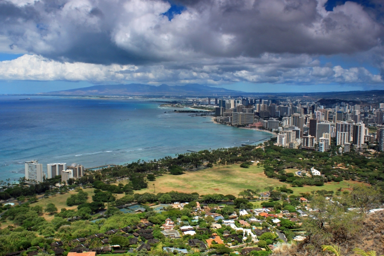 Overlooking Honolulu and Waikiki from Diamond Head.