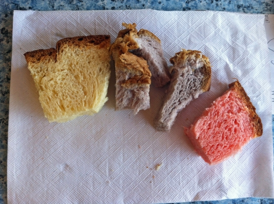 Free samples of sweet bread! (Plain, Taro and Guava)