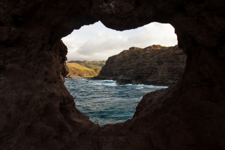 A heart-shaped hole blasted through the rock near the blowhole!