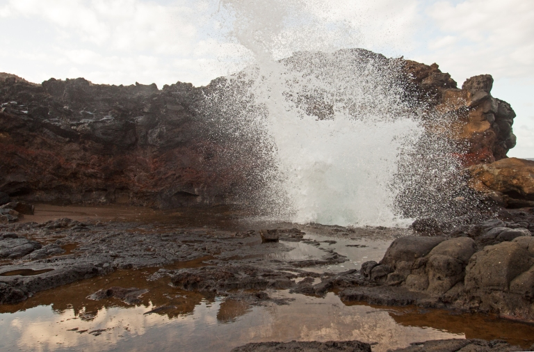 Another blowhole splash from ground level. The previous photograph was taken from the rocks behind the blowhole.