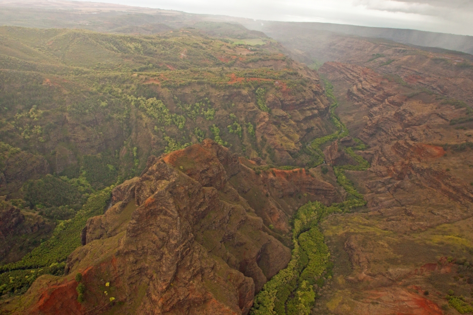 Flying over Waimea Canayon