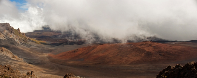 We warmed up in the Visitor Center and gift shop for about a half hour, while thick clouds filled the crater. Just as we were leaving, the clouds thinned enough to get a partial view of what normally makes for beautiful photographs.
