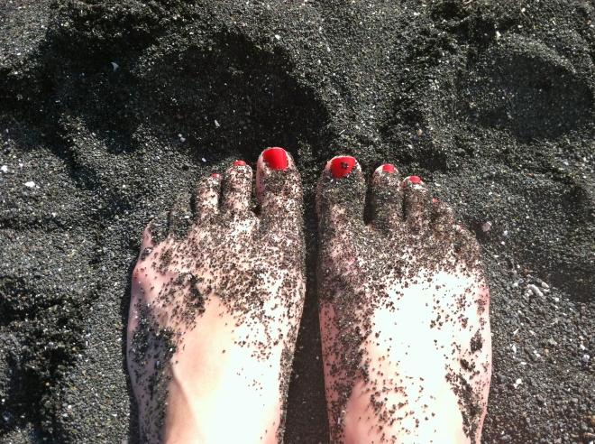 Black sand at Richardson's Beach.