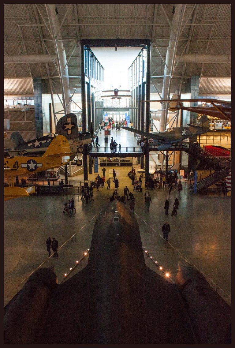 Looking out over the Blackbird, away from Discovery and toward the museum exit.