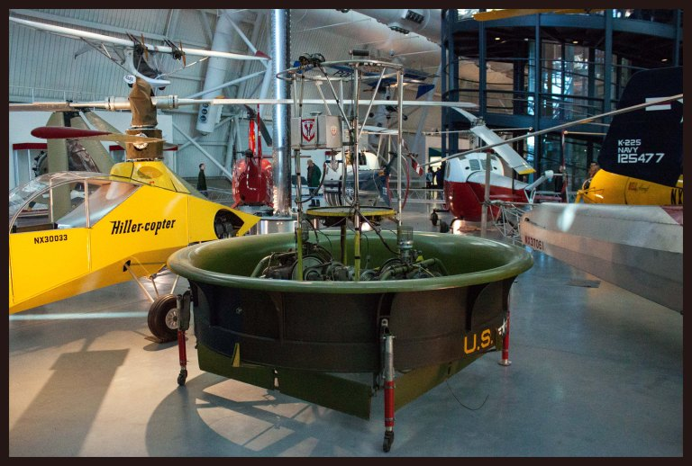 "Hiller 1031-A-1 Flying Platform - one-man ""flying carpets"" that a pilot controlled by leaning in the desired direction of travel; I imagine it is similar to a Segway; unfortunately this design never came to fruition as the extra engines required for safety made the craft too heavy for maneuvering, defeating the original purpose"