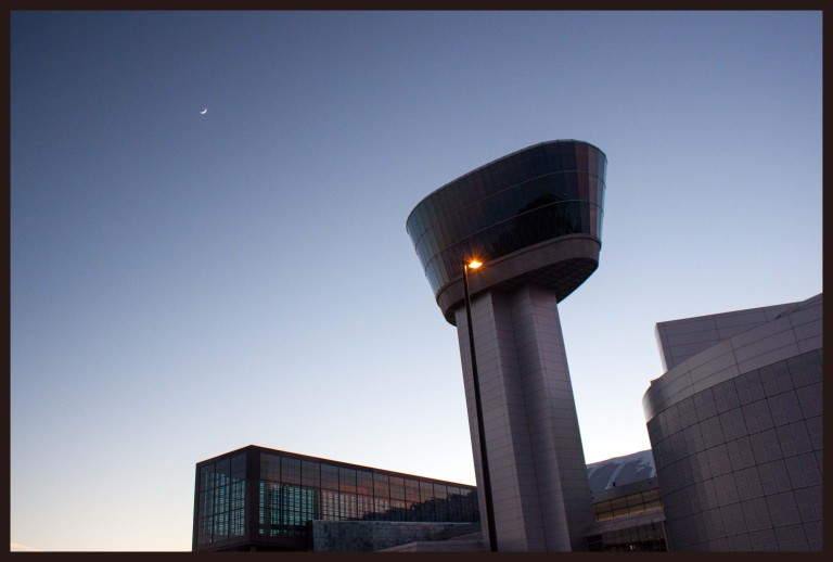 Udvar-Hazy and a crescent moon just after sunset