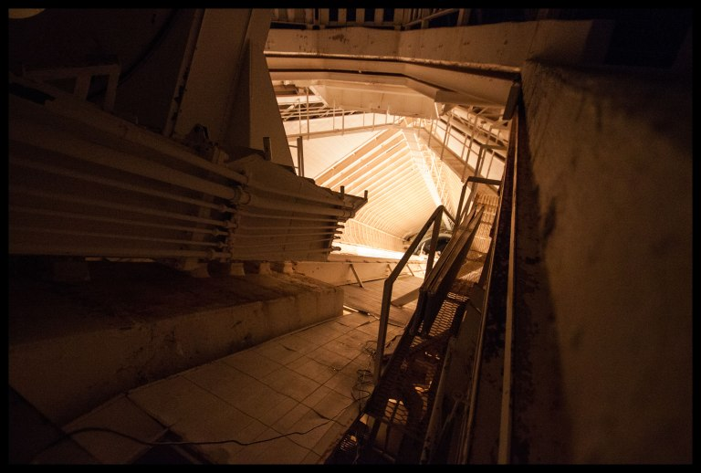 Looking down the 500-foot tunnel toward the second and third mirrors.
