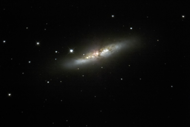 M82 - The Cigar Galaxy Notice the recent supernova on the lefthand side of the edge-on spiral galaxy.