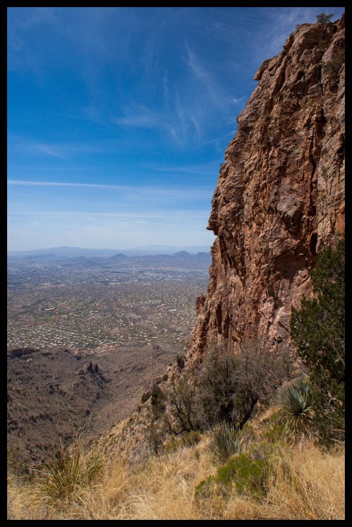 A wonderfully tall cliff rising above Tucson.