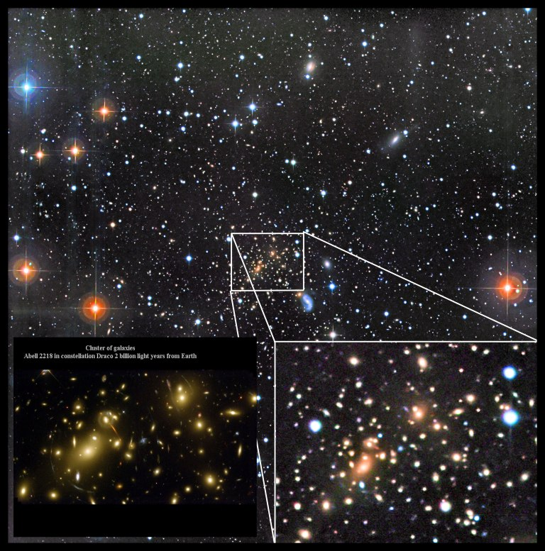 Galaxy Cluster Abell 2218 (compared to Hubble Space Telescope images)