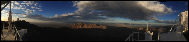 Panorama from atop the solar, looking east. Check out those clouds! (Image credit: F. Haase)