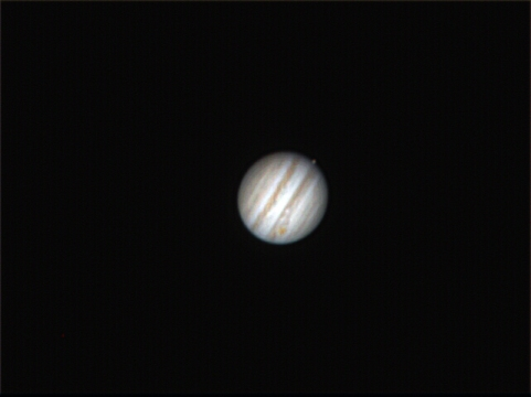 Jupiter - Great Red Spot showing and one moon about to transit