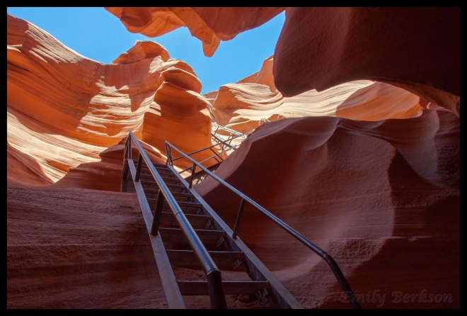 The long, steep staircase leading into the slot canyon. This is an HDR image, created from two photos exposed separately for the dark canyon and the bright sunny walls. With the HDR processing, this actually became one of my favorite photos from the trip.