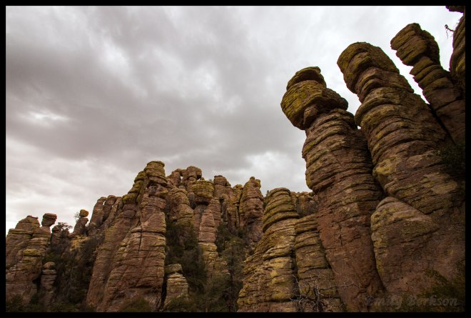 Probably my favorite picture from the entire hike. It's hard to believe these formations are all natural - I imagine this is what it must be like to look up at the impressive manmade statues on Easter Island. Threatening clouds were rolling in at this point, meaning it was time to finish up and get back to the car.