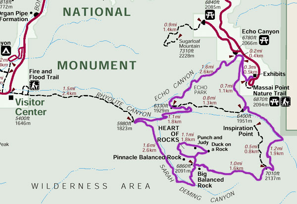 "Chiricahua National Monument trail map - ""Big Loop"" outlined in purple."
