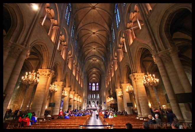 From the back of Notre Dame, looking toward the altar.