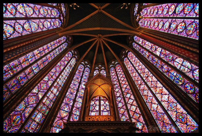 Fifteen fifty-foot stained glass windows line Sainte Chapelle, each telling a different biblical story.