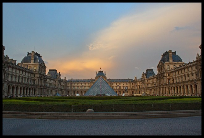 The Louvre at dusk.