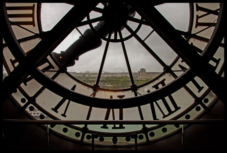 Looking out of the Musée d'Orsay clock, over the city.
