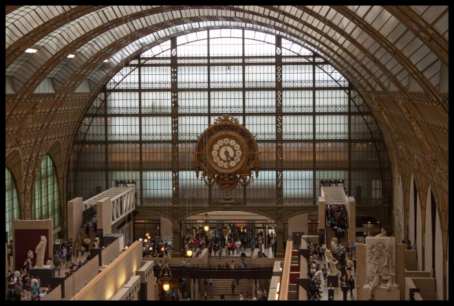 Looking out over Musée d'Orsay, toward the entrance. Only three floors were completely open when we visited.