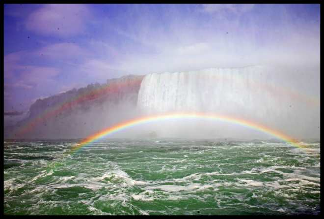 Beautiful double rainbow at the Canadian falls.