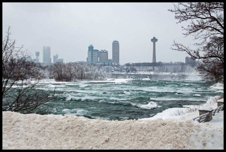 Looking toward Canada while crossing the bridge to the other side of the American falls.