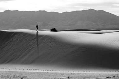 A lone walker exploring the dunes.