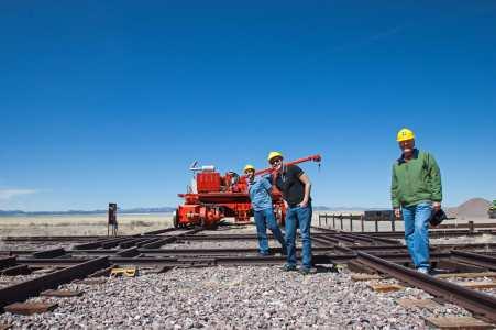 Railroad tracks and antenna transporter.